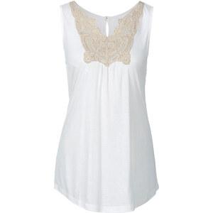BODYFLIRT Top mit Spitze in weiß für Damen von bonprix