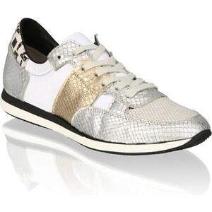 Lederkombi-Sneaker Pat Calvin silber