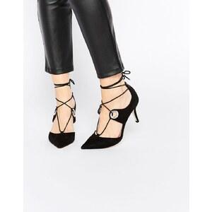 ASOS - SILHOUETTE - Chaussures pointues à talons et lacets - Noir