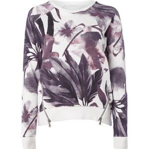 khujo Sweatshirt mit floralem Muster und Zip-Details