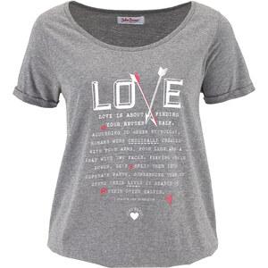 John Baner JEANSWEAR Bedrucktes Kurzarm-Shirt in grau für Damen von bonprix