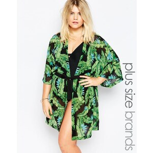 Junarose - Kimono de plage à imprimé feuilles de palmier - Vert