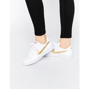 Nike - Baskets classiques avec virgule dorée effet métallisé - Blanc - Blanc