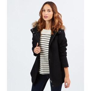 Manteau en laine, capuche fausse fourrure Etam