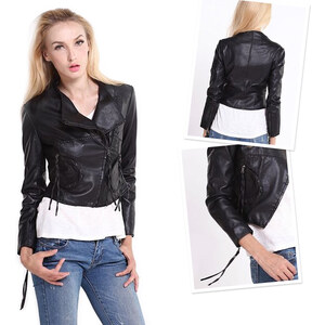 Lesara Kurze Jacke im Leder-Style - M