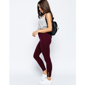 ASOS - Leggings à ourlets zippés - Bordeaux
