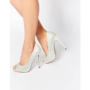 ASOS - PEARL - Chaussures de mariée ornementées à semelles plateformes - Blanc