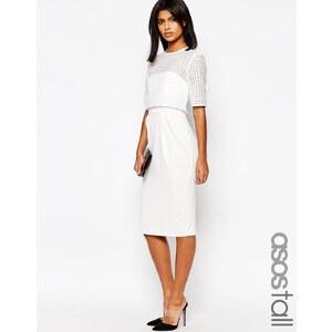 ASOS TALL - Kleid mit kurzem Oberteil aus Spitze - Weiß
