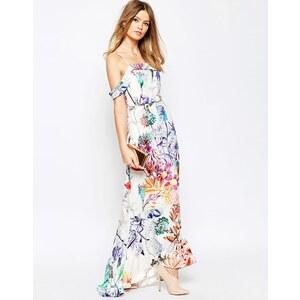 ASOS WEDDING - Bardot-Maxikleid mit Schwalbenschwanzsaum und Blumenmuster - Mehrfarbig
