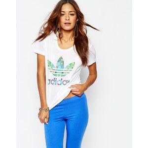 Adidas Originals - T-shirt ajusté avec logo trèfle à imprimé oiseaux - Blanc