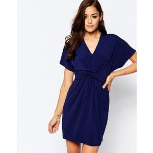 ASOS - Wickelkleid aus Krepp - Marineblau