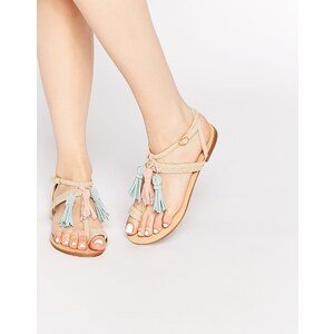 Glamorous - Flache mehrfarbige Sandalen mit Quaste - Mehrfarbig