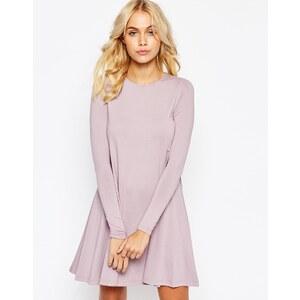 ASOS - Swing-Kleid mit langen Ärmeln und Ziernähten - Grau