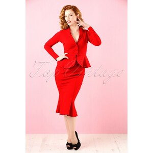 Heart of Haute 50s Diva Suit Jacket in Red