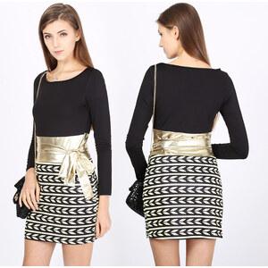 Lesara Langärmeliges Kleid mit goldfarbenem Schleifen-Einsatz - L