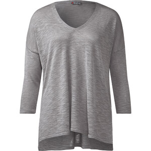 Street One 3/4-Arm V-Neck Pullover Mali - pearl grey, Damen