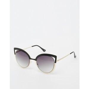 ASOS - Lunettes de soleil métalliques yeux de chat avec monture color block et verres découpés - Multi