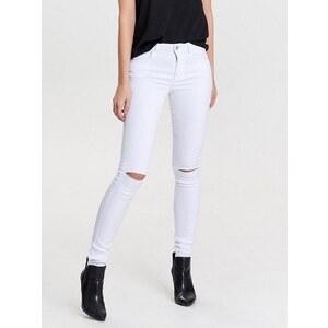 Only Royal reg weiße Knieschnitt- Skinny Fit Jeans