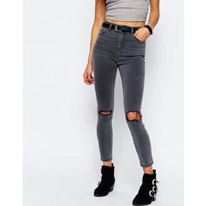ASOS - RIDLEY - Schiefergraue Skinny-Jeans mit Zierrissen - Schiefergrau