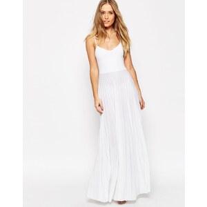 ASOS - Robe longue caraco à jupe plissée - Blanc