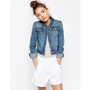 ASOS - Veste en jean coupe rétrécie - Délavage bleu moyen - Bleu