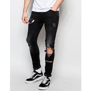 ASOS - Superenge Jeans mit Rissen - Schwarz
