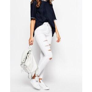 Waven - Anika - Enge Jeans mit hohem Bund und verschlissenem Detail - Weiß