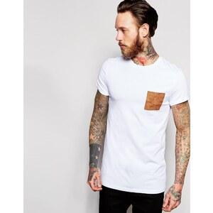 ASOS - T-shirt moulant coupe longue avec poche en imitation daim et manches retroussées - Blanc - Blanc