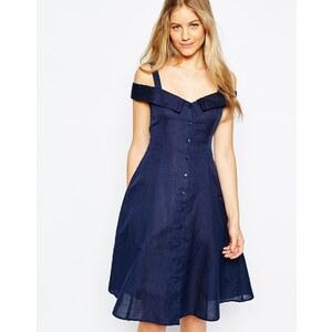 ASOS - Schulterfreies, mittellanges Sommerkleid mit Knopfleiste - Marineblau