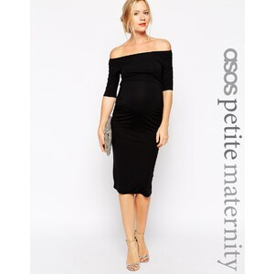 ASOS Maternity Petite - Robe style Bardot avec demi-manches - Noir