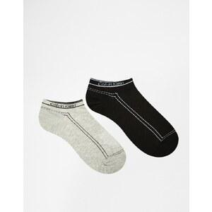 Calvin Klein - Lot de 2 paires de socquettes rétro avec logo - Gris noir