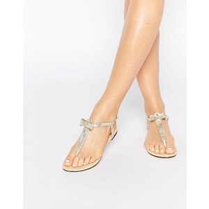 Oasis - Flache Sandalen mit Schleife vorne - Gold