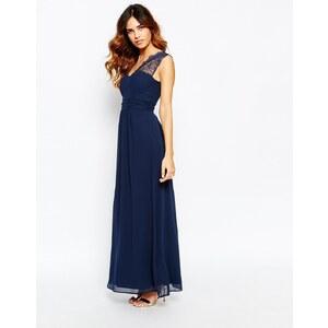 Elise Ryan - Maxi robe asymétrique en dentelle - Bleu marine