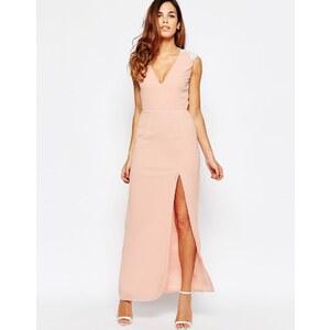 Elise Ryan - Maxi robe sans manches à dos ouvert avec bordure en dentelle et fente sur la cuisse - Rose