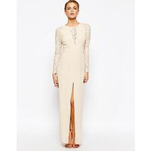 Elise Ryan - Maxi robe en dentelle à décolleté plongeant en V et cuisse fendue - Crème