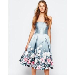 Chi Chi London - Robe mi-longue bandeau à imprimé floral en satin - Gris floral multicolore