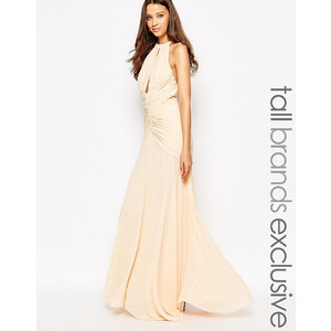 Jarlo Tall - Maxi robe dos nu à découpe goutte d'eau avec détails froncés - Beige
