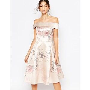 Chi Chi London - Robe mi-longue à épaules dénudées et motif fleurs de cerisier - Multi