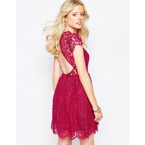 Glamorous - Robe patineuse en dentelle frangée - Rouge