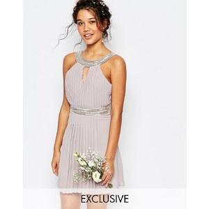 TFNC WEDDING - Robe courte plissée à ornements - Violet