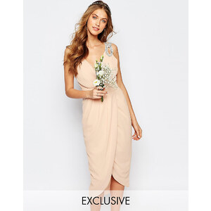TFNC WEDDING - Robe longue cache-cœur ornementée - Rose
