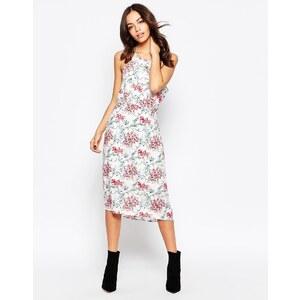 Minimum - Robe fourreau mi-longue sans manches avec imprimé floral - Blanc