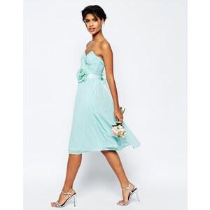 ASOS WEDDING - Robe bandeau mi-longue en mousseline avec ceinture fleur amovible - Bleu