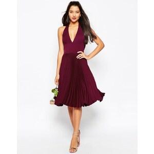 ASOS WEDDING - Robe mi-longue plissée et drapée au dos - Rouge