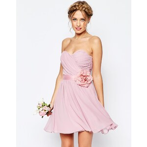 ASOS WEDDING - Kurzes Bandeau-Kleid aus Chiffon mit abnehmbarem Blumengürtel - Gischt 33,99 €