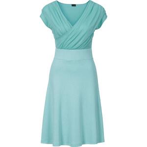 BODYFLIRT Kleid/Sommerkleid kurzer Arm in grün (V-Ausschnitt) von bonprix