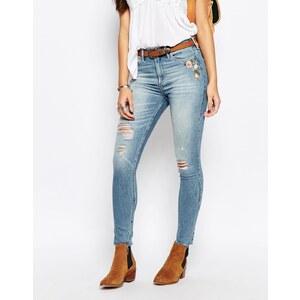 Abercrombie & Fitch - Skinny-Jeans mit hohem Bund und Blumenstickerei - Blau