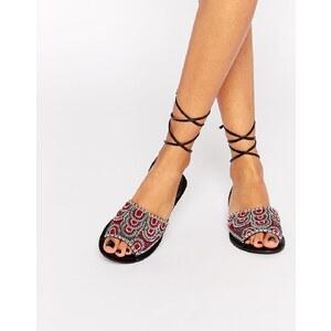 ASOS - FRIENDSHIP - Leder-Sandalen mit Beinschnürung - Mehrfarbig