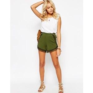 ASOS - Jersey-Shorts mit Quasten - Grün