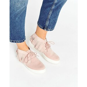 ASOS - DRAMA - Baskets en daim avec franges - Rose